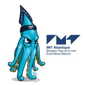 Mascotte calamar bleu ecole IMT Atlantique