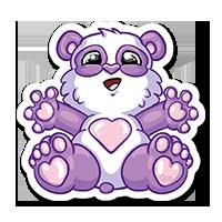Stickers panda violet