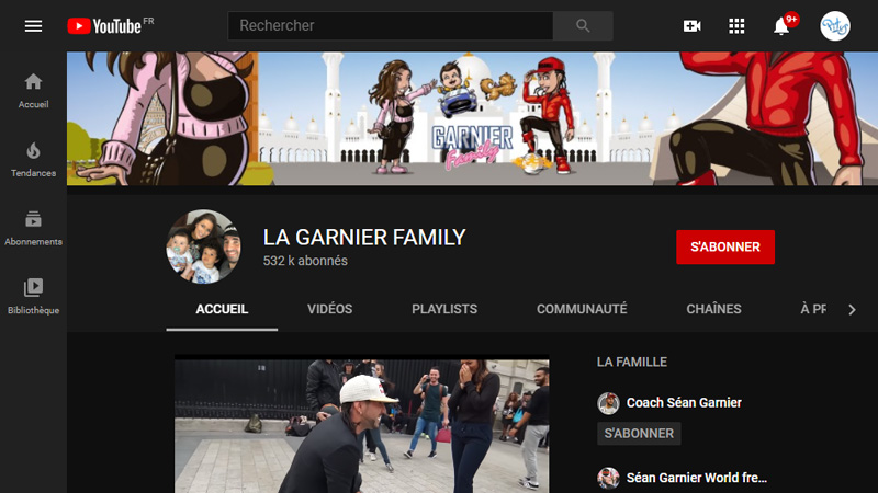 Banniere Youtube Garnier Family